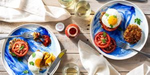 sun basket Breakfast fish cakes with fried eggs and tomato