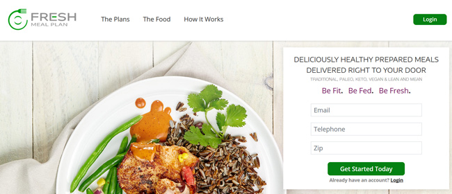 Fresh Meal Plan printscreen homepage
