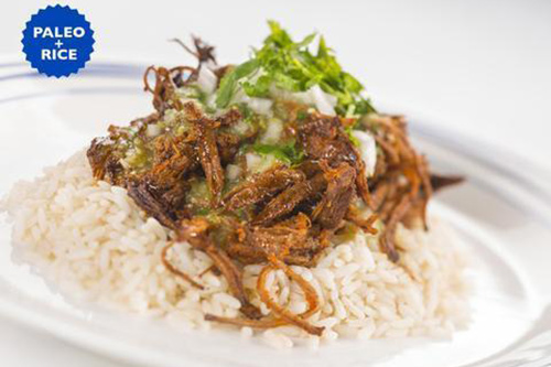 Ice Age Meals Grass Barbacoa with Tomatillo Salsa and Rice