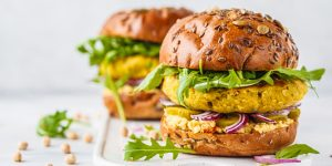 Vegan chickpeas burgers on white background