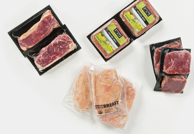 ButcherBox meat in plastic packaging