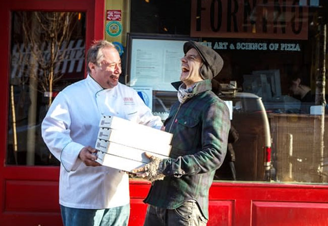 Delivery-com local restaurants and two men and delivery