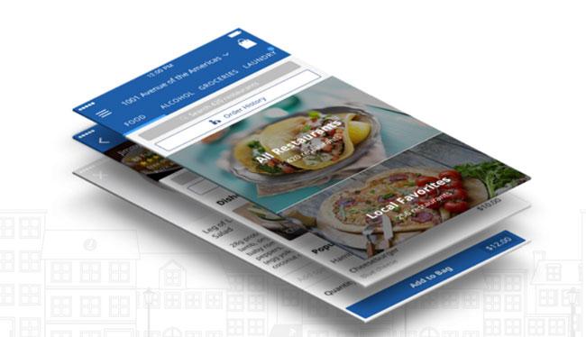 Delivery-com smart phone app screen