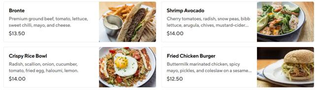 Doordash example meals price