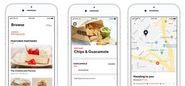 Doordash phone app for meals delivery services