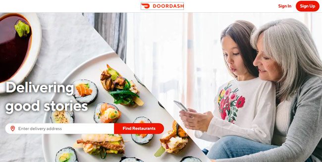Doordash printscreen homepage