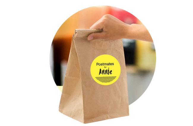 Postmates paper bag for delivery