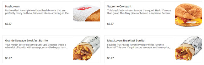 Uber Eats example prices