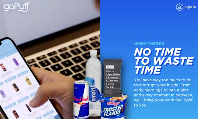 goPuff printscreen homepage
