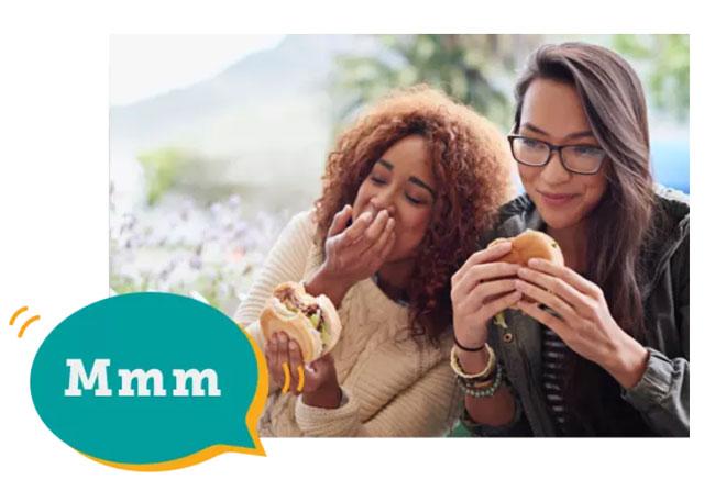 seamless young girl eating a burger