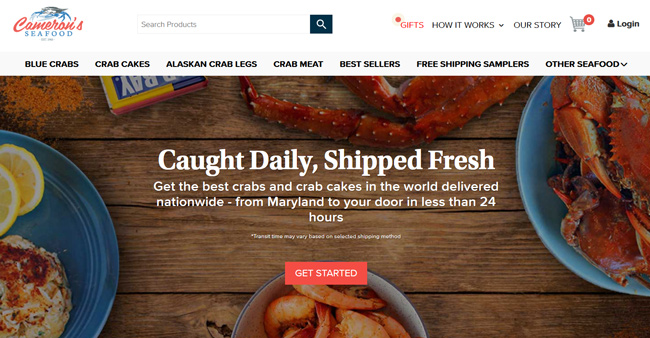 Cameron's-Seafood printscreen homepage